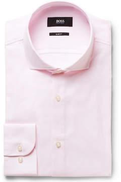 HUGO BOSS Pink Jerrin Slim-Fit Cutaway-Collar Cotton Shirt