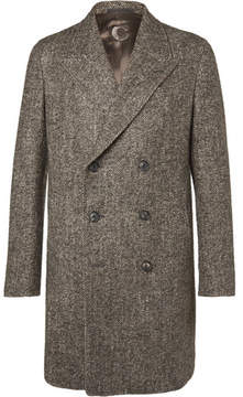 Caruso Butterfly Slim-Fit Double-Breasted Herringbone Wool-Blend Coat