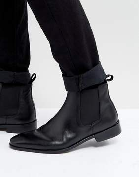 Dune Chelsea Boots In Black Leather