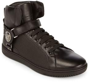 Versace Men's Hi-Top Leather Lace-Up Sneakers