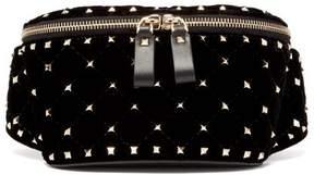 Valentino Rockstud Spike Quilted Velvet And Leather Belt Bag - Womens - Black