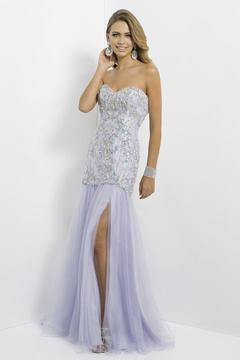 Blush Lingerie Strapless Long Dress with Slit 9788