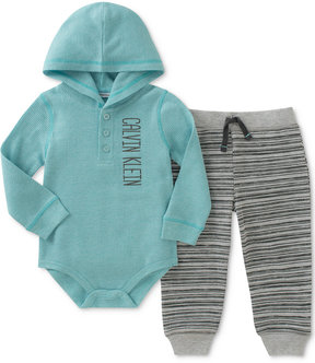 Calvin Klein 2-Pc. Hooded Thermal Bodysuit & Striped Pants Set, Baby Boys (0-24 months)