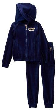 Juicy Couture Navy Velour Heart Hoodie & Pant Set (Little Girls)