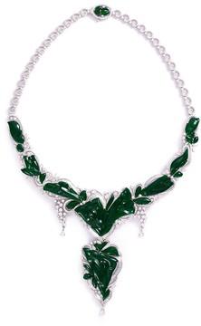 Green Diamond jade 18k gold floral pendant necklace