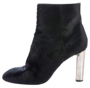 Celine Ponyhair Square-Toe Ankle Boots