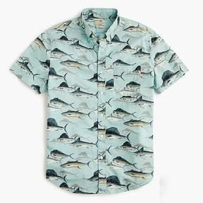 J.Crew Short-sleeve slub cotton shirt in sporting fish print