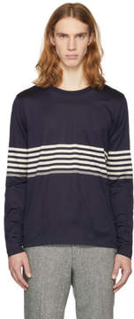 Paul Smith Navy Long Sleeve Chest Stripe T-Shirt