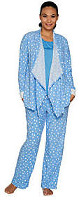 Carole Hochman Tall Stretch Waffle Fleece 3-Piece Pajama Set