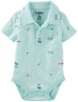 Osh Kosh Oshkosh Bgosh Baby Boy Surf & Palm Tree Polo Bodysuit