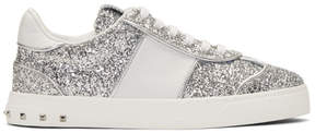 Valentino Silver Garavani Glitter Flycrew Sneakers