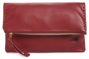 Sole Society Rifkie Faux Leather Foldover Clutch - Red