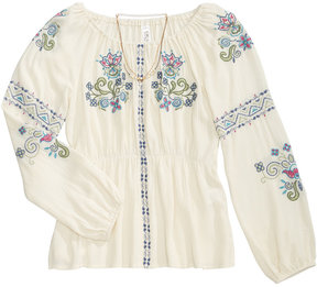 Beautees Embroidered Peasant Top & Necklace Set, Big Girls (7-16)