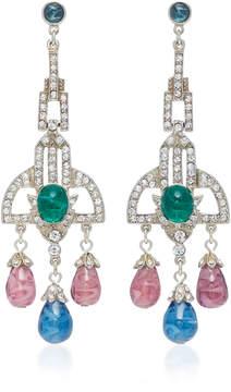Ben-Amun Ben Amun Saph Brass and Crystal Chandelier Earring