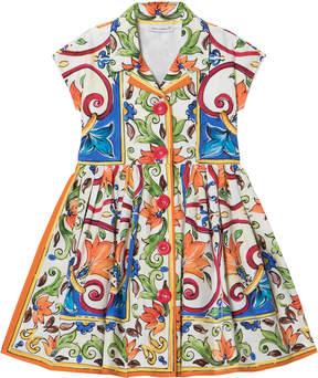 Dolce & Gabbana Majolica Print Cotton Shirt Dress