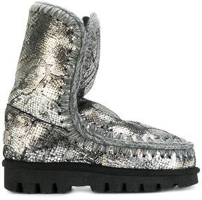 Mou metallic snakeskin effect boots