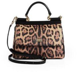Dolce & Gabbana Sicily Leopard-Print Leather Top Handle Satchel