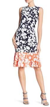 Eliza J Sleeveless Ruched Print Dress