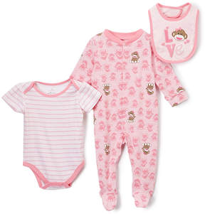 Baby Starters Pink & White Sock Monkey 'Love' Footie Set - Infant