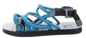 Louis Vuitton Crocodile-Trimmed Strap Sandals