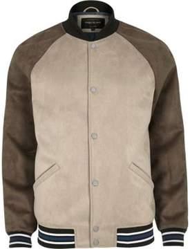 River Island Mens Stone block faux suede varsity jacket