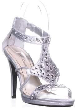 Caparros Emilie Gem T-strap Sandals, Silver Metallic.