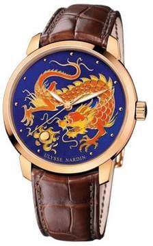 Ulysse Nardin Classico Dragon Enamel Champleve Dial Alligator Leather Automatic Men's Watch
