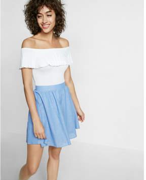 Express high waisted cotton-linen blend mini skirt