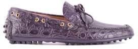 Car Shoe Men's Purple Leather Loafers.
