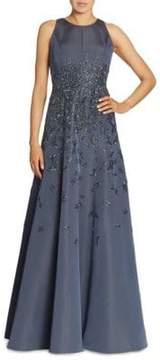 Carmen Marc Valvo Beaded Silk Faille Gown