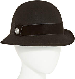 Scala Crystal Brooch Cloche Hat