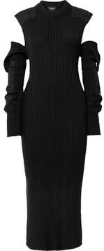 Calvin Klein Cutout Ribbed Cotton Midi Dress - Black