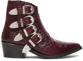 Toga Pulla Embossed Leather Buckle Booties in Red,Animal Print.