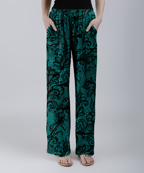 Lily Teal & Black Filigree Palazzo Pants - Women & Plus