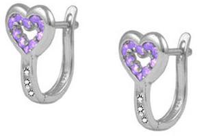 Ice Child & Teen Girls' Sterling Silver Heart Latch Back Earrings