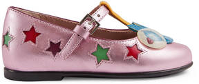 Gucci Toddler metallic leather ballet flat with stars