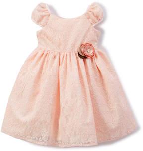 Laura Ashley Pink Floral Lace Cap-Sleeve Dress - Infant