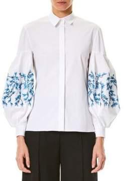 Carolina Herrera Embroidered Puffy-Sleeve Blouse