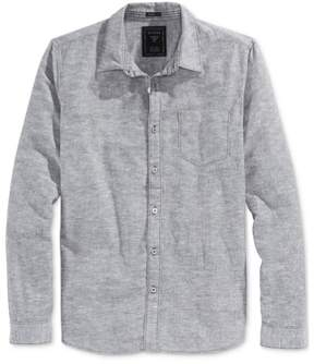 GUESS Mens Slim Fit Textured Button Up Shirt Grey M