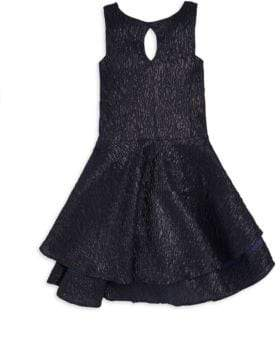 Un Deux Trois Girl's Textured Jacquard Tiered Dress