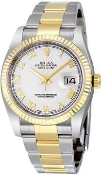 Rolex Oyster Perpetual Datejust 36 Automatic White Dial Stainless Steel and 18kt Yellow Gold Bracelet Men's Watch