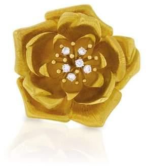 David Webb 18K Yellow Gold And Diamond Flower Pin