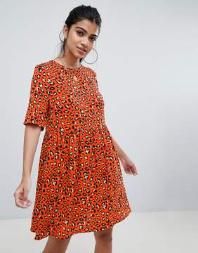 Asos Design Smock Mini Dress In Leopard Print