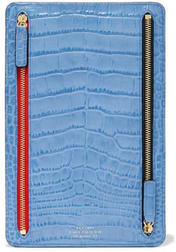 Smythson Mara Croc-effect Leather Wallet - Blue