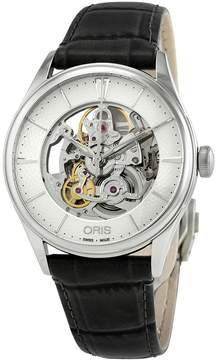 Oris Artelier Silver Skeleton Dial Automatic Men's Leather Watch