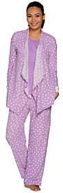 Carole Hochman Stretch Waffle Fleece 3-Piece Pajama Set