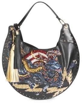 Balmain Domaine 50 Embroidered Leather Hobo Bag