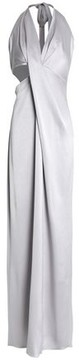 Halston Cutout Metallic Washed-Satin Halterneck Gown