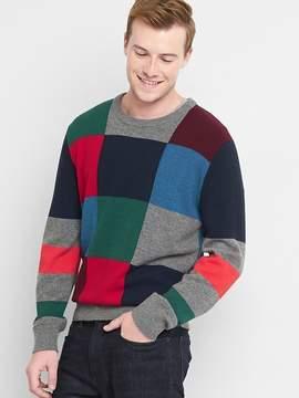 Gap Merino wool blend crazy check crewneck sweater
