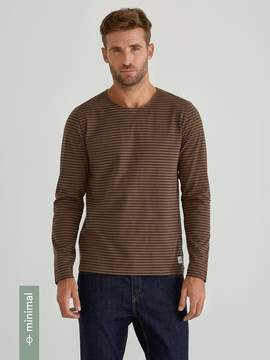 Frank and Oak Organic Cotton Crewneck Long Sleeve T-Shirt in Striped Cub